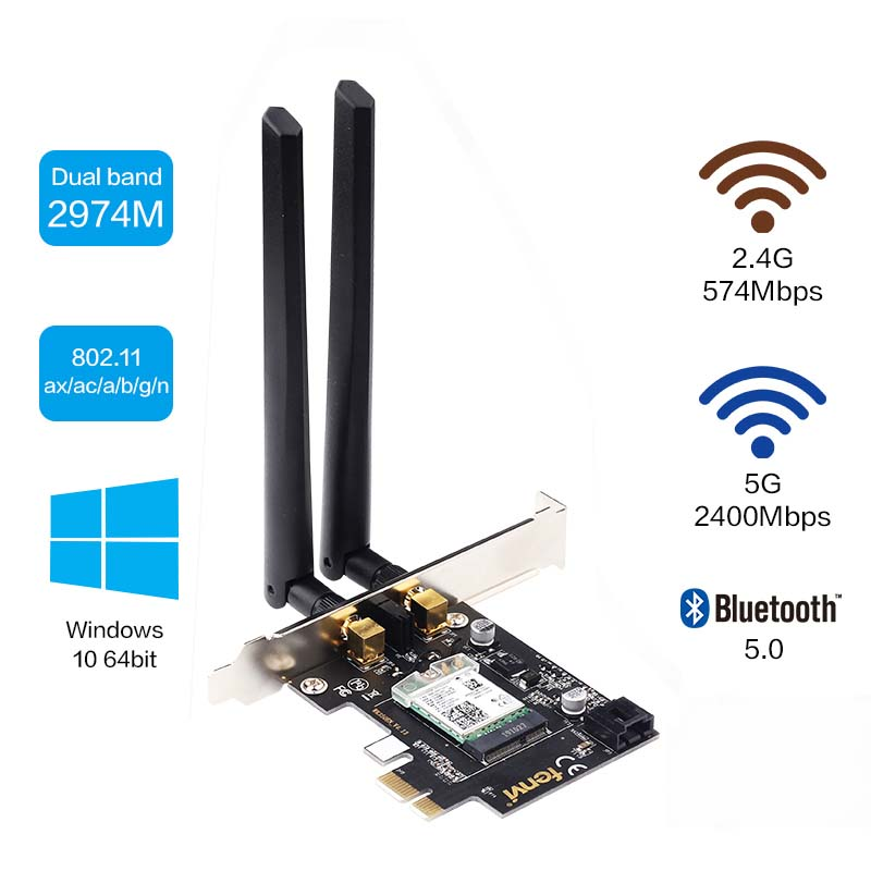 2400Mbps Dual Band Wireless Network Card For Intel <font><b>AX200</b></font> Wi-Fi 6 WiFi Adapter AX200NGW 802.11ac/ax Bluetooth 5.0 For Desktop image