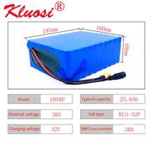 Kluosi 10s8p 36v 25.6ah 25ah 1000w 36v bateria 42v li ion bateria com 30a bms para ebike scooter do motor da bicicleta do carro elétrico