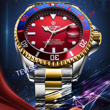 TEVISE Red blue rotating bezel Mens Quartz Watches