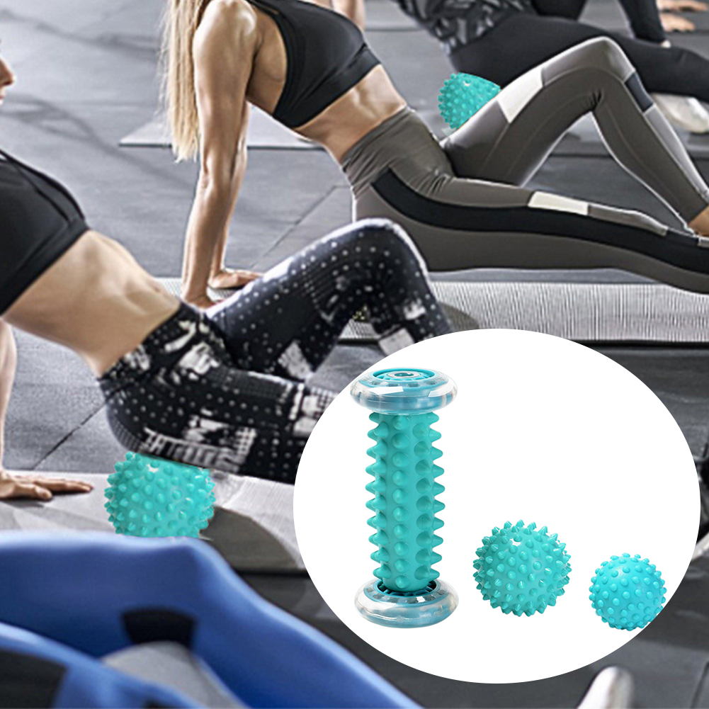 3pcs Fitness Foot Training Massage Ball Set Fascia Spiky Gym Hand Relax Muscle Health Care Physiotherapy TPE Yoga Portable