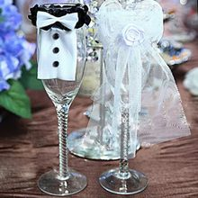 2 stks/partij Smoking Trouwjurk Vorm Wijn Zakken rode wijn Fles Covers Gift Champagne Verpakking bag Wedding Party Decoratie(China)