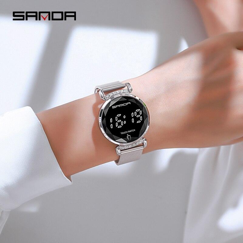 SANDA-montre-bracelet numérique, marque de luxe, écran tactile 30M, étanche, horloge, robes pour femmes, montre pour femme 3