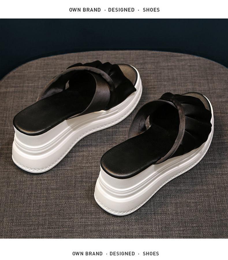 moda sapatos de plataforma de sola grossa chinelos de salto alto