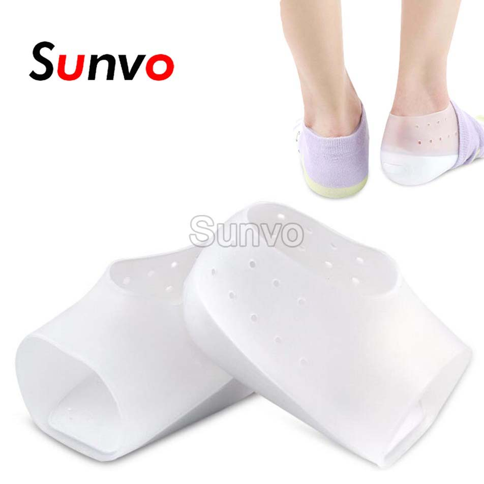 Silicone Insole Invisible Height Lift Heel Pad Sock Liners Increase Insoles Pain Relieve Unisex Heel Pads Foot Unisex