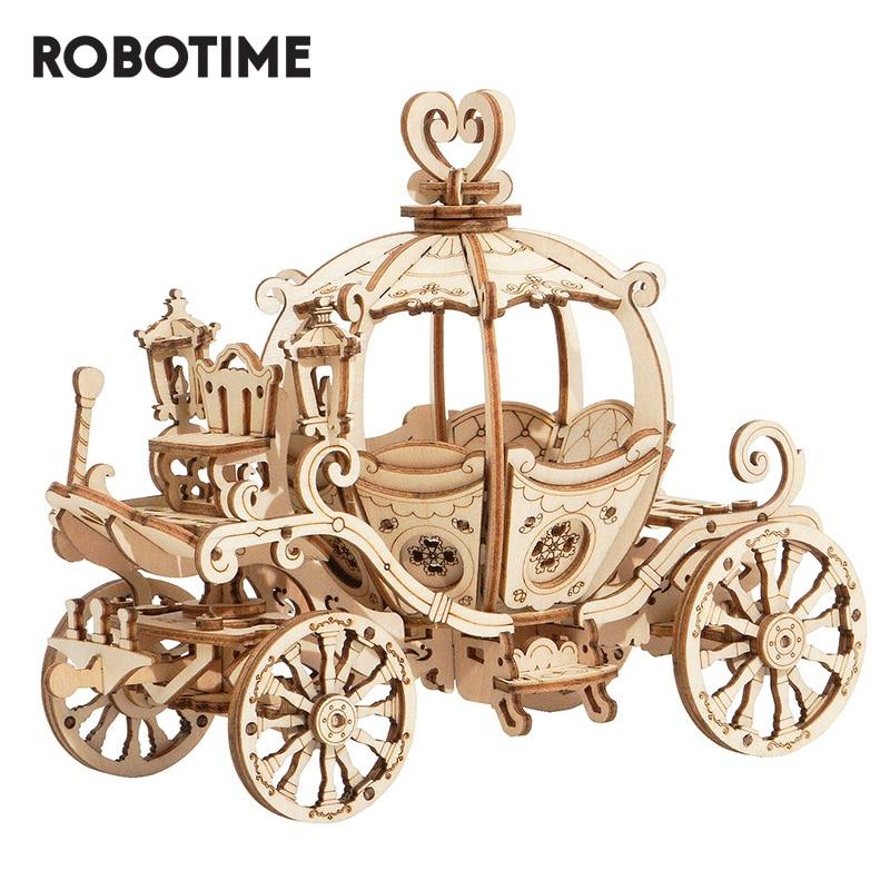 Robotime 3D Wooden Puzzle Games Assembly Pumpkin Cart Model Toys For Children Kids Girls