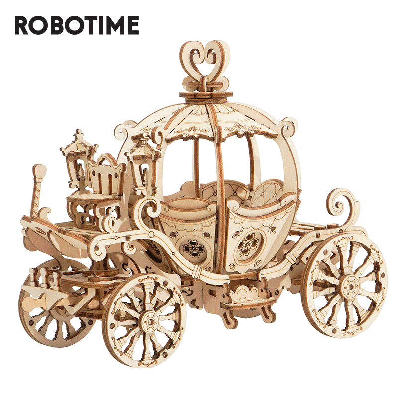 Robotime 3D Wooden Puzzle Games Assembly Pumpkin Cart Model Toys For Children Kids Girls Birthday Gift
