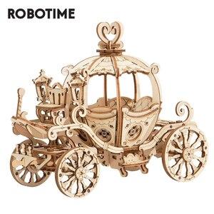Image 1 - Robotime 3D עץ פאזל משחקי הרכבה דלעת עגלת דגם צעצועים לילדים ילדים בנות מתנת יום הולדת