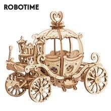 Robotime ثلاثية الأبعاد ألعاب ألغاز خشبية الجمعية اليقطين عربة نموذج لعب للأطفال أطفال بنات هدية عيد ميلاد