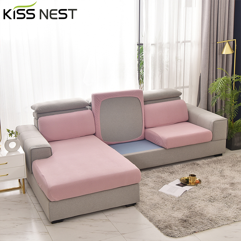Solid Color Plaid Plush Sofa Seat Cushion Cover,Elastic Velvet,for Living Room Chaise Longue Waist Cushion 1/2/3/4 Seater