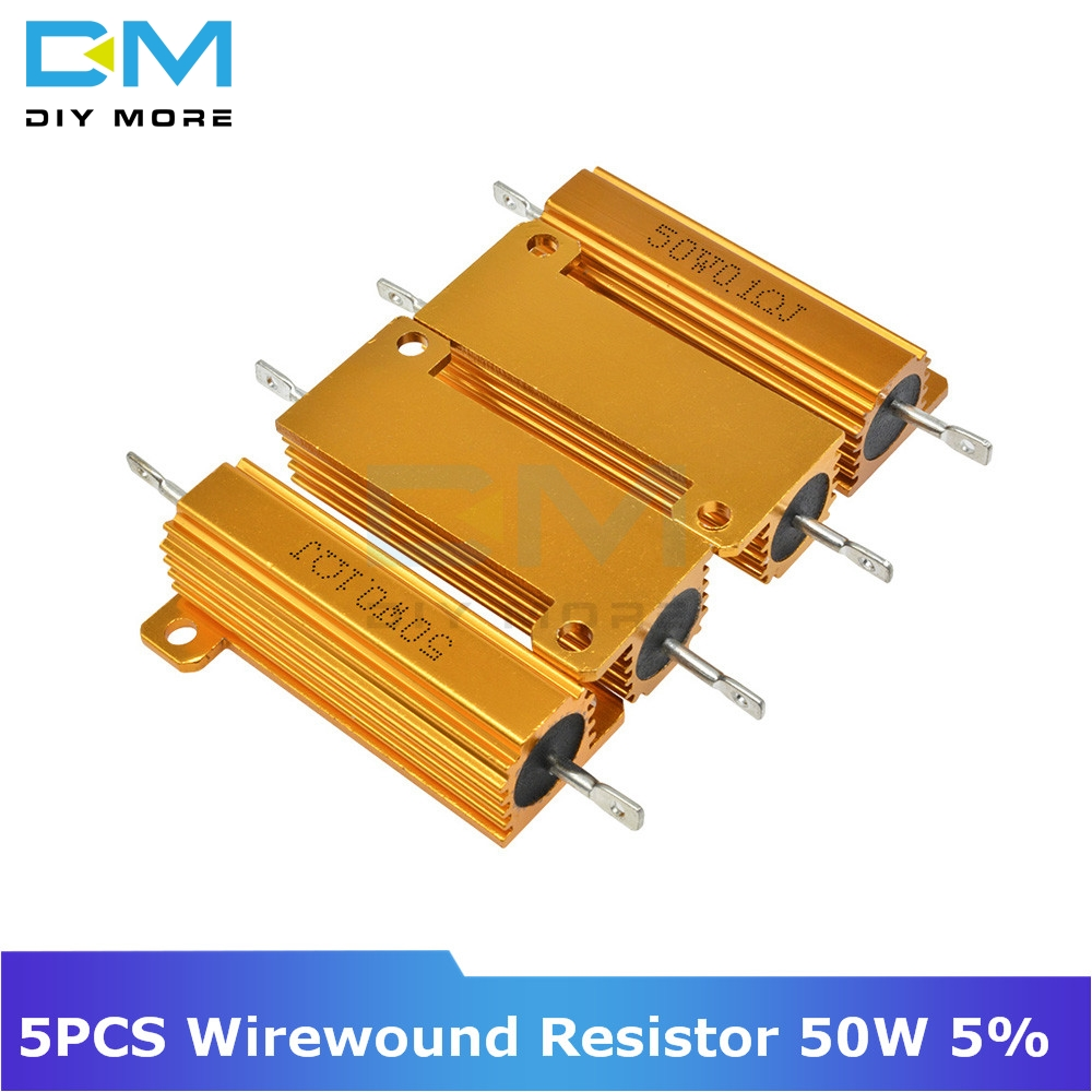5PCS 0.5R 1R 2R 4R 6R 8R 10R 20R <font><b>50W</b></font> 5% +5% -5% Aluminum Shell Housed Case Power Wirewound <font><b>Resistor</b></font> 0.5/1/2/4/<font><b>6</b></font>/8/10/20/100 <font><b>Ohm</b></font> image