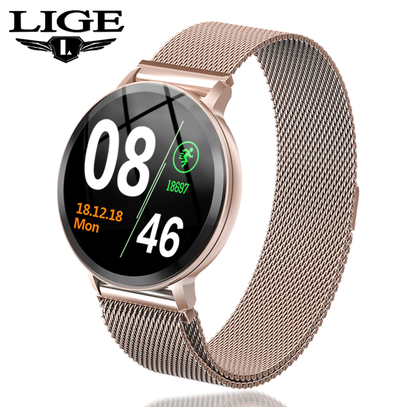 LIGE Bracelet intelligent femmes étanche Fitness Tracker fréquence cardiaque moniteur de pression artérielle podomètre Sport montre Bracelet intelligent + boîte