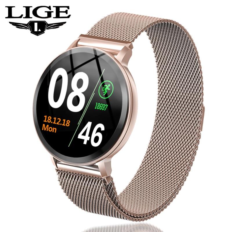 LIGE Inteligente Pulseira Mulheres À Prova D' Água Rastreador De Fitness Heart rate Monitor de Pressão Arterial Relógio Do Esporte Pedômetro Inteligente pulseira + Caixa