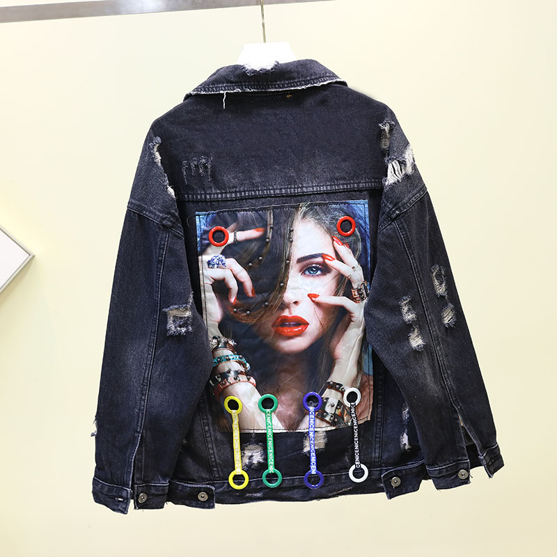 2020 Autumn New Street Cowboy Coat Jackets Girls Student Broken Hole Loose BF Wind Denim Coats Outwear Womens Black Jeans Jacket
