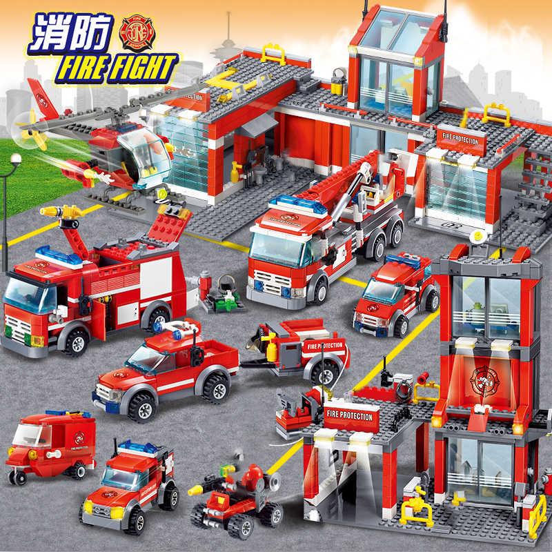 Modele KAZI budynku zabawki kompatybilny z obsługi Lego Fire posterunek policji zestawy bloki zabawki hobby chłopcy dziewczęta modelu budynku zestawy
