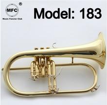 Music Fancier Club Professional Flugelhorn 183 Gold Lacquer With Case Profession Flugelhorns Bb Yellow Brass Bell