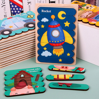 Kids Animal 3D Wooden Puzzle Montessori Toy Double-sided Strip Puzzle Telling Story Stacking Jigsaw Educational Toy For Children image