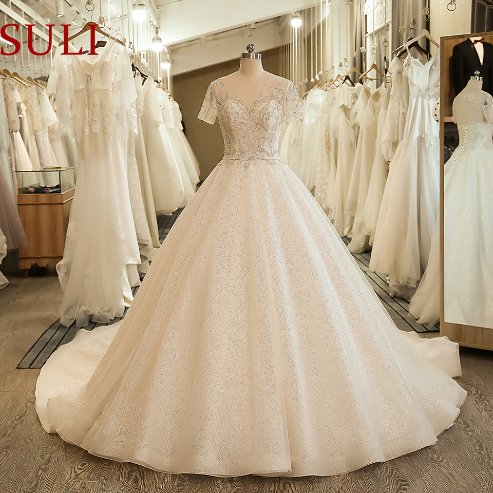 SL-5060 Short Sleeve Wedding Bridal Gown Embroidery Sequined Lace Wedding Dress 2020(China)