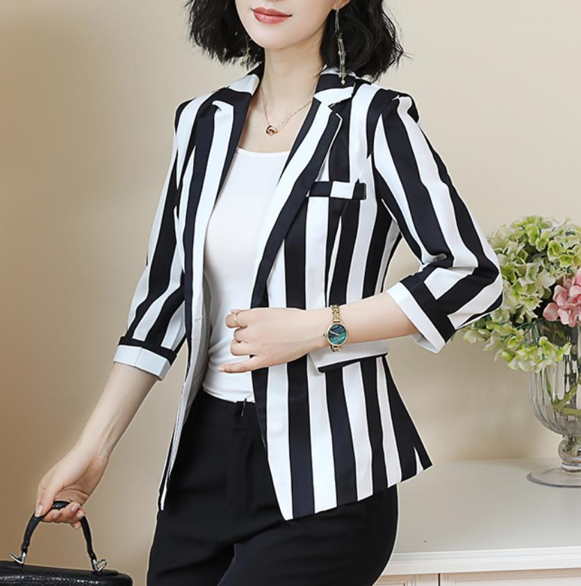 2020 Spring Summer Professional Blazer Suit Temperament Leisure Stripe Fashion Three Quarter Single Button Pockets Office Lady