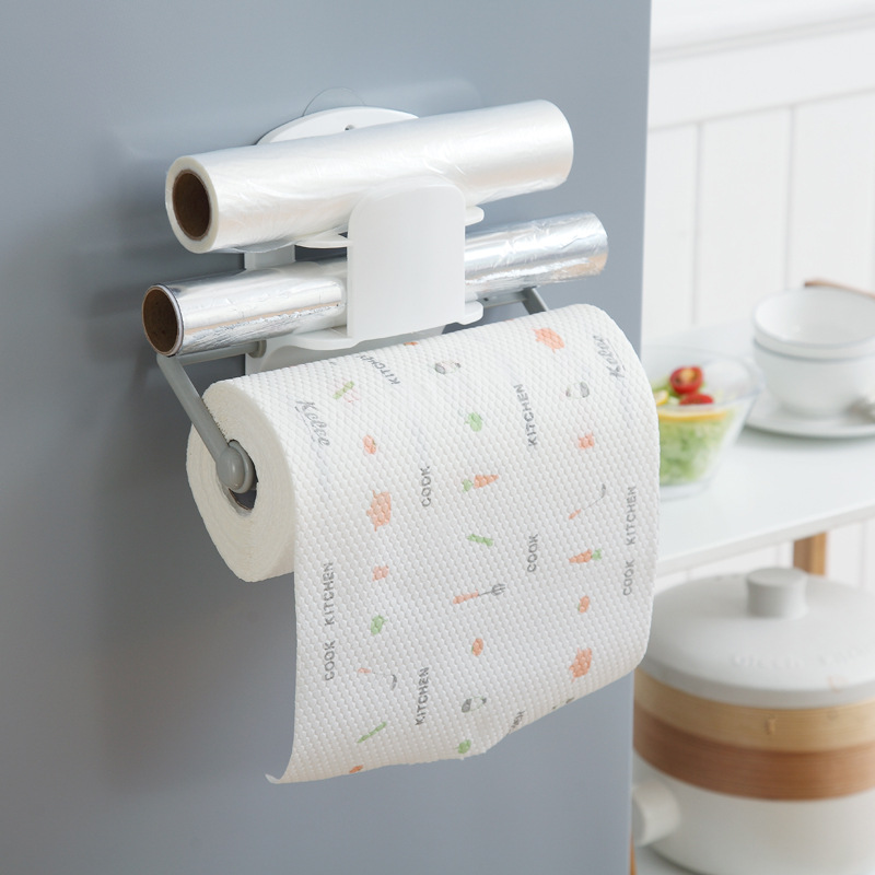 Multi-fucntion Kitchen Roll Paper Shelf Wrap Film Holder Bathroom Toilet Tissue Shelf Organizer Kitchen Storage Rack Adjustable