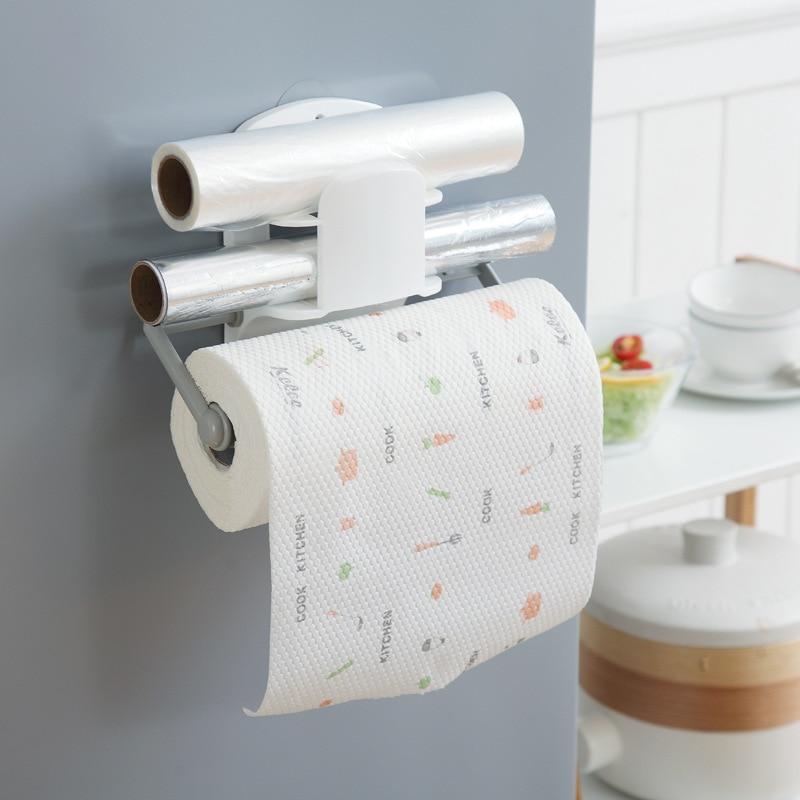 Multi-fucntion Kitchen Roll Paper Shelf Wrap Film Holder Bathroom Toilet Tissue Shelf Organizer Kitchen Storage Rack Adjustable