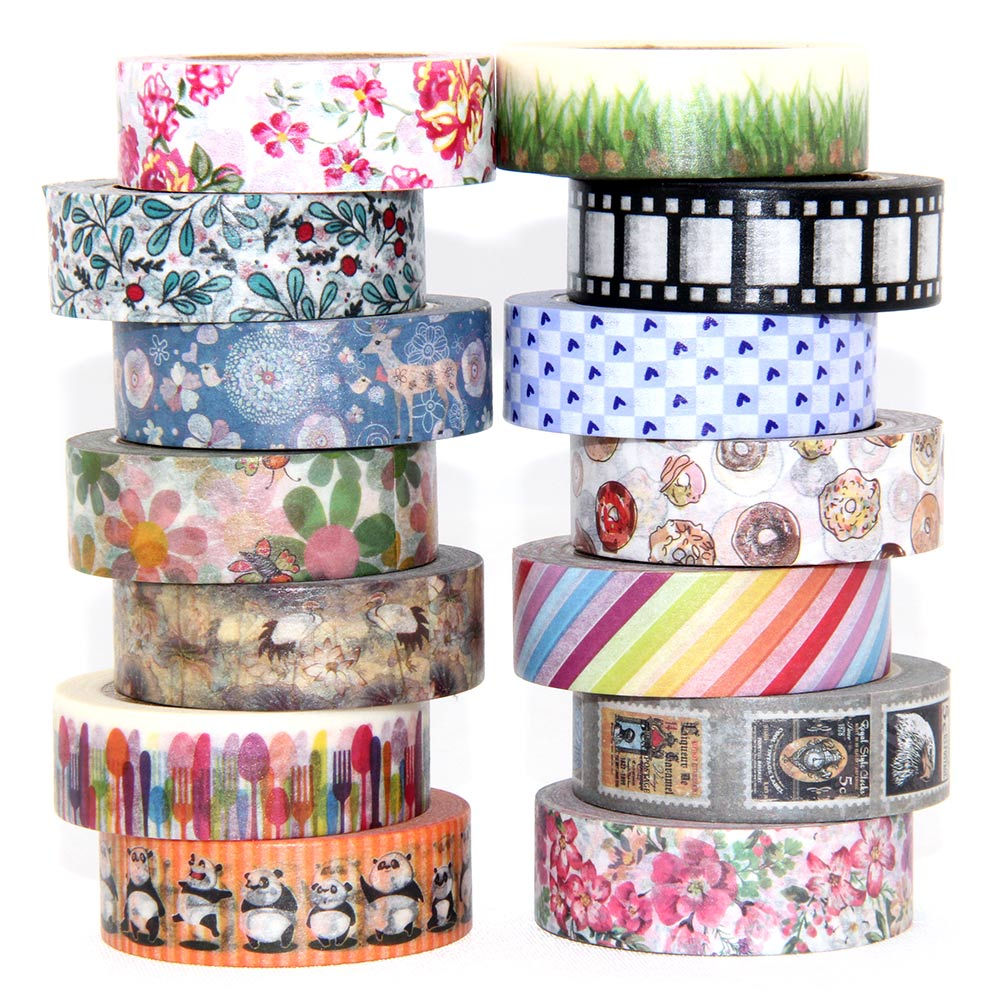 1 Roll Cute Lotkawaii Flower Food Animals Decorative Washi Tape DIY Scrapbooking Masking Tape School Office Supply