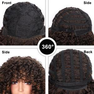 Image 4 - ELEGANT MUSES Synthetic Afro Kinky Curly Wigs Short Curly Wig with Bangs for Black Women Mixed Brown Ombre Blonde