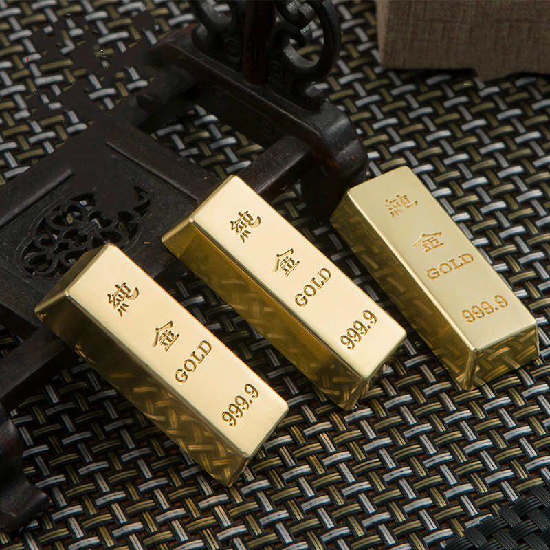 Brass Paperweights Creative Metal Simulation Gold Bar Paper Weight Chinese Classical Lucky Calligraphy Paperweights Decoration
