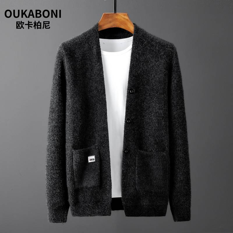 Men Sweater Long Sleeve Cardigan Males Pull Style Cardigan Clothing Fashion Thick Warm Mohair Sweater Men