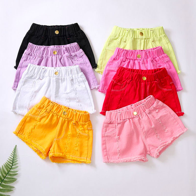 Baby Summer Denim Shorts Teens Solid Candy Color Pants For Girls White Pink Jeans Swimming Shorts Kids Trousers Children Clothes