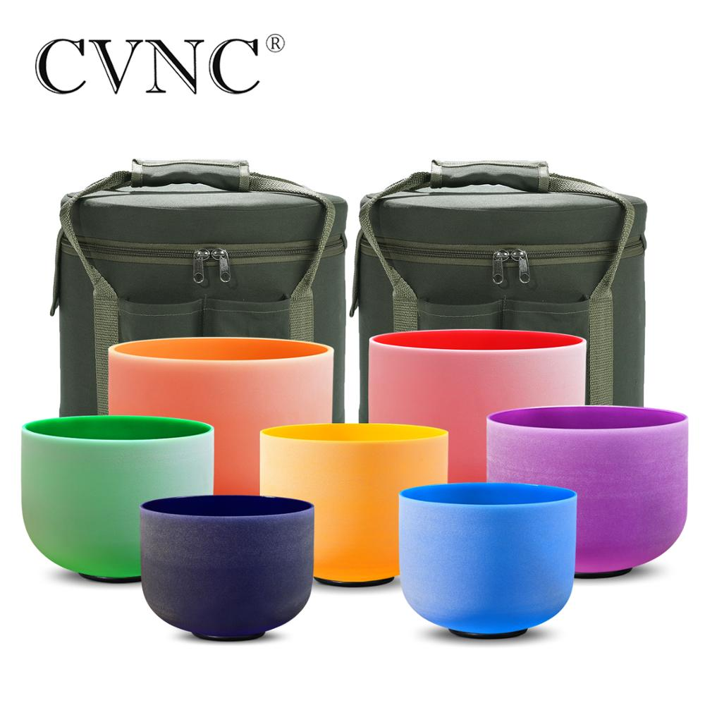 """CVNC 6""""-12"""" Set of 7pcs Note CDEFGAB Color Frosted Quartz Crystal Singing Bowl with Free 2pcs Liner  Carry bags"""