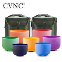 """Cvnc 6 """" 12"""" のセット 7 個注 cdefgab 色つや消し水晶 singing ボウル送料無料で 2 個ライナーキャリーバッグ"""