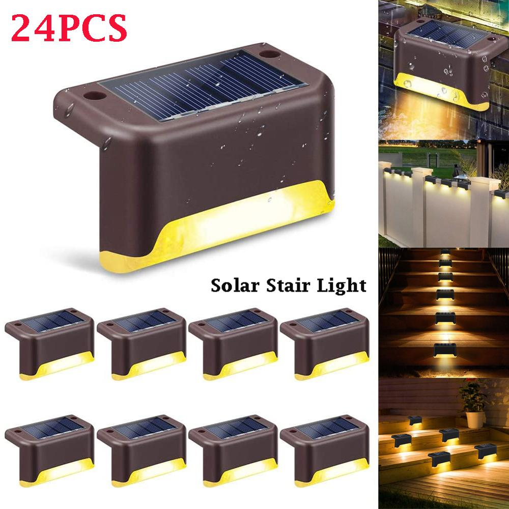Solar Deck Lights LED Solar Step Lamp Outdoor Waterproof Solar Fence Light for Patio Stairs Garden Lights Pathway Yard Landscape