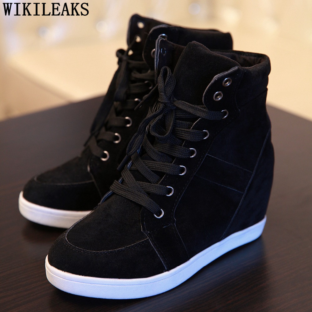 2020 Casual Shoes Women Height Increasing Platform Sneakers Wedges Shoes For Woman Lace-up High Top Genuine Suede Women Shoes