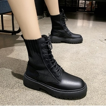 Купить с кэшбэком AIYUQI springtime Women shoes Genuine Leather Flat Ankle Boots Platform socks shoes fashion Women's shoes