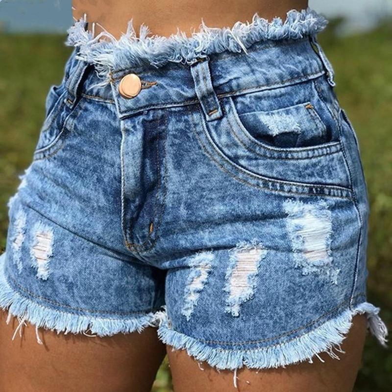 Casual Summer Denim Women's Shorts Cowboy High Waists Tassel Hole Fur-lined Leg-openings Plus Size Sexy Short Jeans 2019