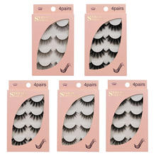 4 Pairs 3D Mink Eyelashes 15mm Lashes 3D Mink Fake Eyelash Extension Make Up Cilios Natural Fluffy Faux Mink Lashes Faux Cils