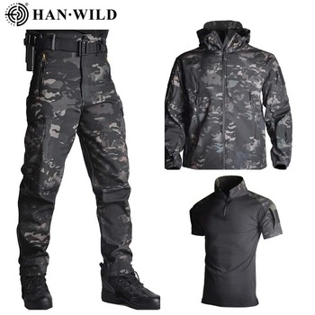 TAD Shark Skin Hunting Jacket Pants Shirts Camping Suits Waterproof Windproof Jackets Softshell Military Uniform Army Clothes 3pcs set tad shark softshell jacket outdoor clothes hunting jacket pants with shirts camouflage military army suits for hiking