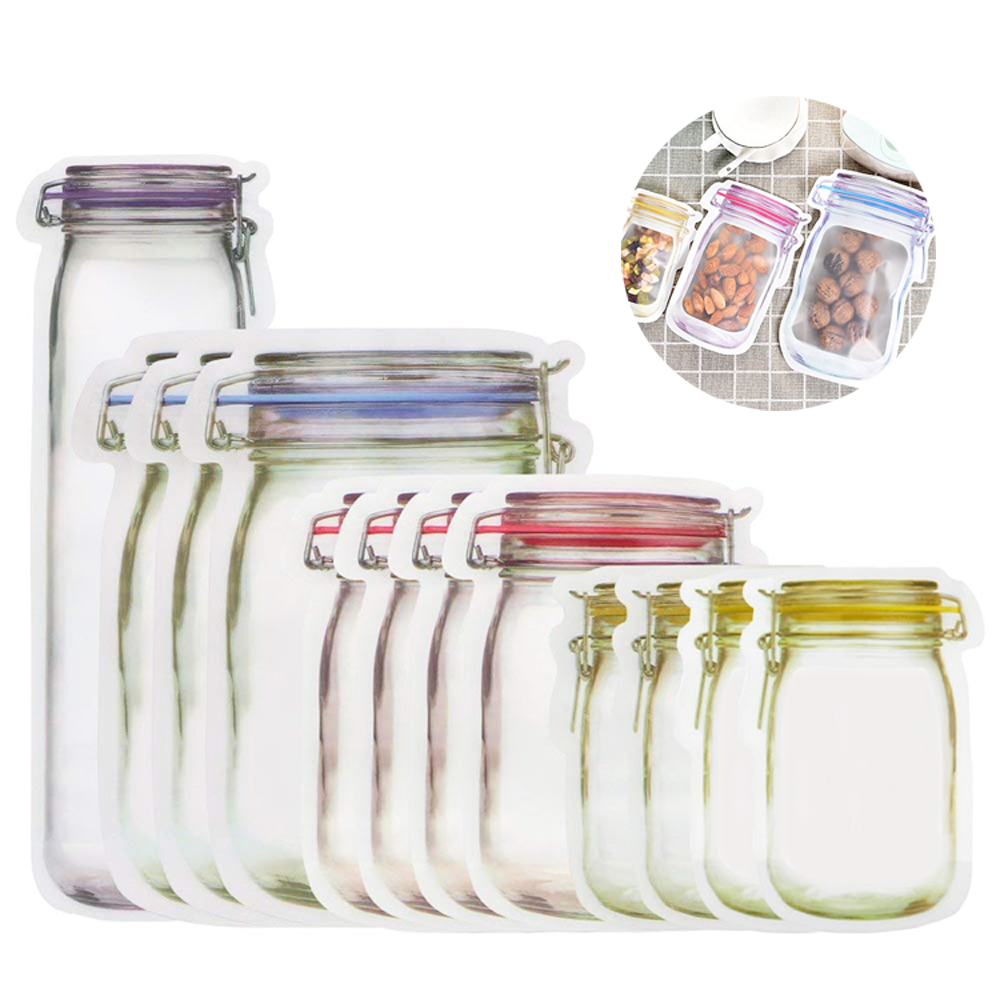 Reusable Jar Shape Zipper Bag Seal Bags Food Storage Bags Snack Saver Bag For Kitchen Organizer Travel Kids