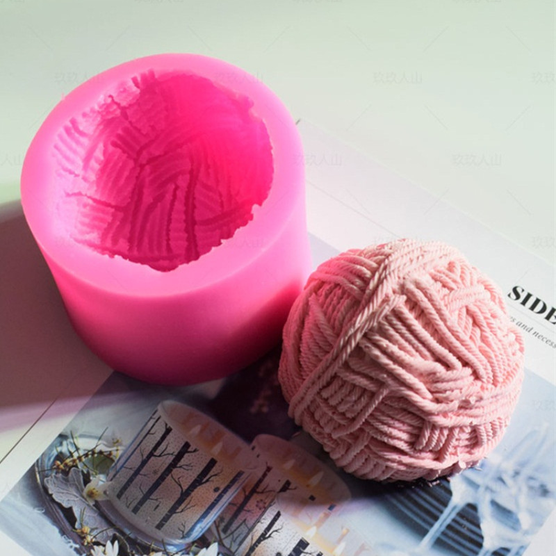 3D Knitting Wool Ball Silicone Candle Mold DIY Fondant Cake Decorating Tools Handmade Aroma Gypsum Mould Crafts