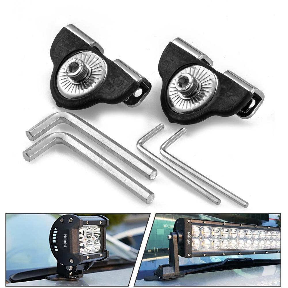 1PAIR Car Engine Hood Led Light Bar Mounting Brackets Auto Piller Lamp Holder Clamp Clip No Drilling Universal SUV 4WD 4X4