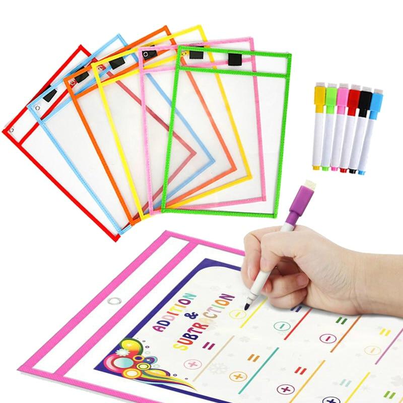 10 pièces/ensemble Transparent sec brosse sac enfants planche à dessin peinture à la main Doodle coloriage apprentissage jouets éducatifs pour enfants cadeau