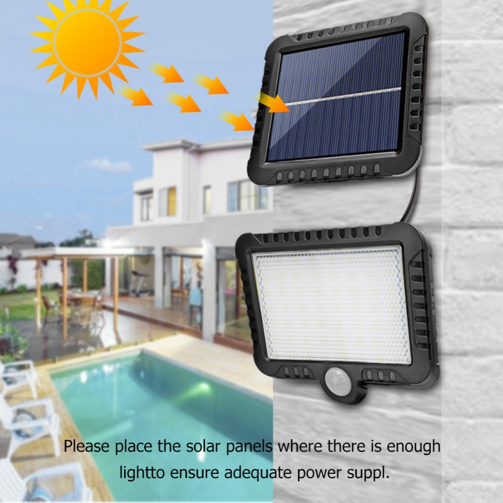 COB Wall Mounted Solar Outdoor Light with 120LED and Motion Sensor Suitable for Street and Garden 26