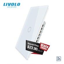"LIVOLO יצרן קיר מתג, 110 ~ 250V,IvoryGlass פנל, 1way בארה""ב מגע אור מתג, מרחוק אלחוטי מתג"