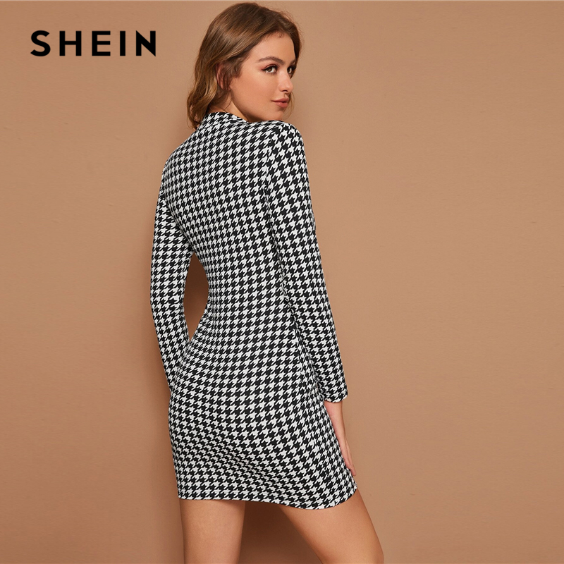 SHEIN Black and White Mock Neck Houndstooth Print Bodycon Dress Women Spring Autumn Long Sleeve Elegant Pencil Fitted Dresses 2