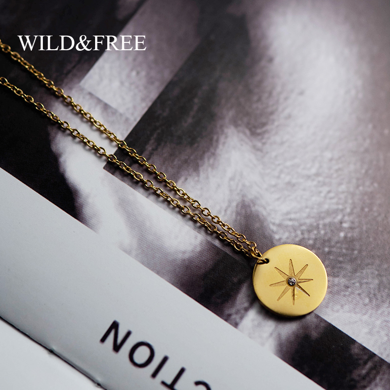 Wild&Free New Stainless Steel Gold Pendant Necklace For Women Girls Vintage Round Disc Star Shape Simple Necklace Jewelry Gift