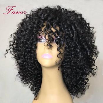 Kręcone ludzkie włosy peruki peruwiańskie włosy remy maszyna wykonane włosy peruki Preplucked bielone węzłów dla kobiet z dzieckiem włosy tanie i dobre opinie Favor Hair Krótki U części peruki Remy włosy Ludzki włos Pół maszyny wykonane i pół ręcznie wiązanej Swiss koronki
