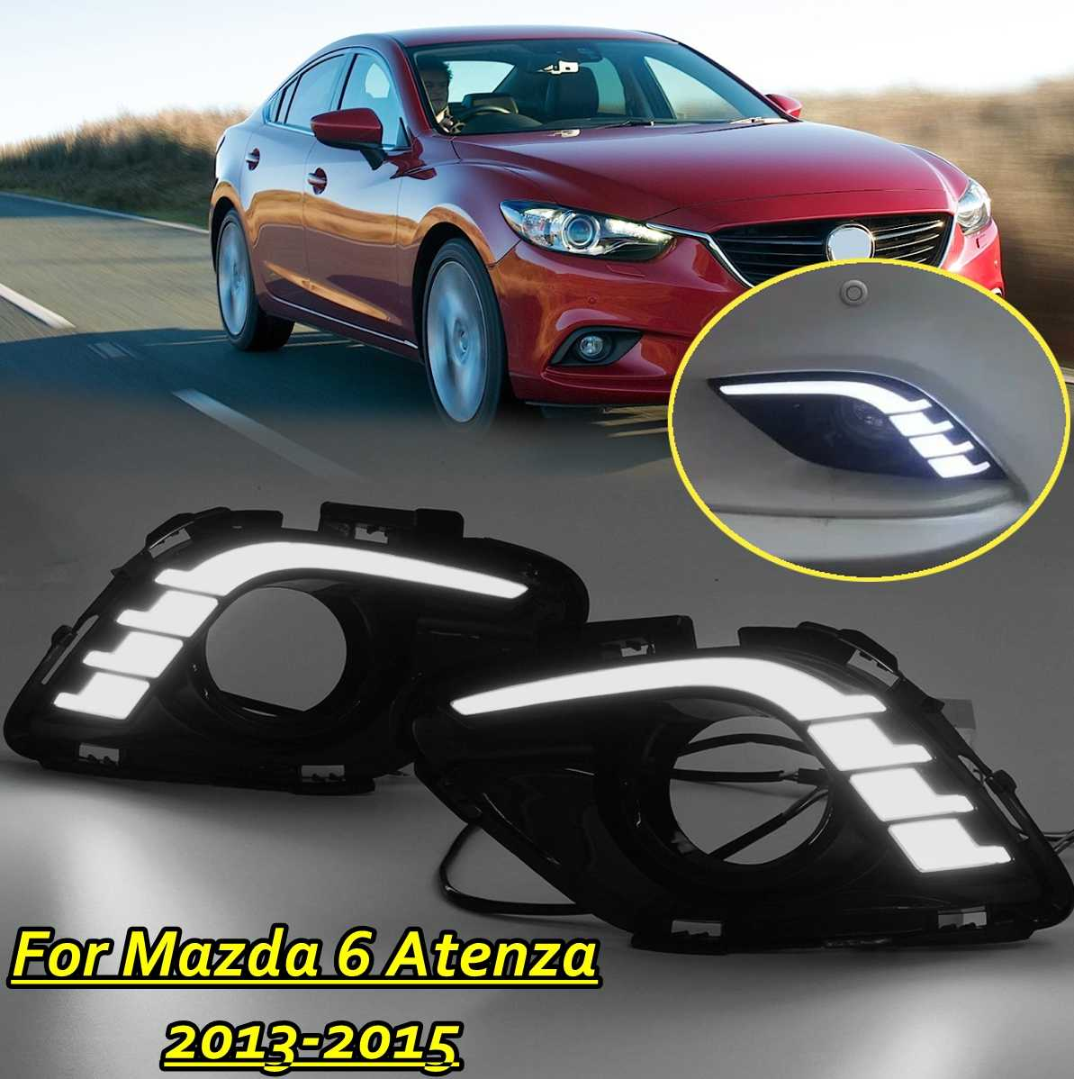 Pair <font><b>LED</b></font> DRL White Daytime Running <font><b>Lights</b></font> Daylight Fog <font><b>light</b></font> cover For <font><b>Mazda</b></font> <font><b>6</b></font> for Mazda6 For Atenza 2013 2014 2015 image