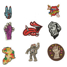 Horse Tongue Africa Robot Hand Rock Music Patches Iron On Or Sew Fabric Sticker For Clothes Badge Embroidered Appliques DIY(China)