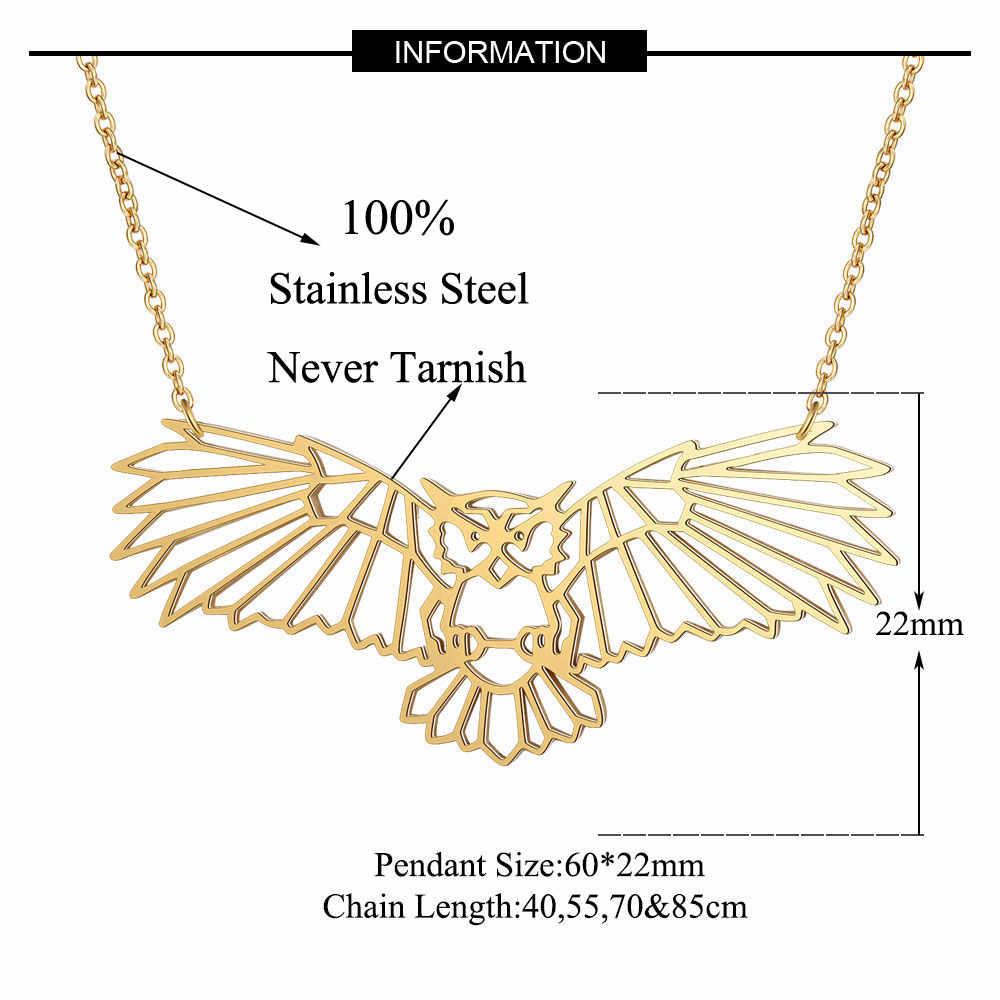 100% ze stali nierdzewnej zwierząt latający sowa moda naszyjnik dla kobiet w sprzedaży hurtowej osobowość biżuteria specjalny prezent