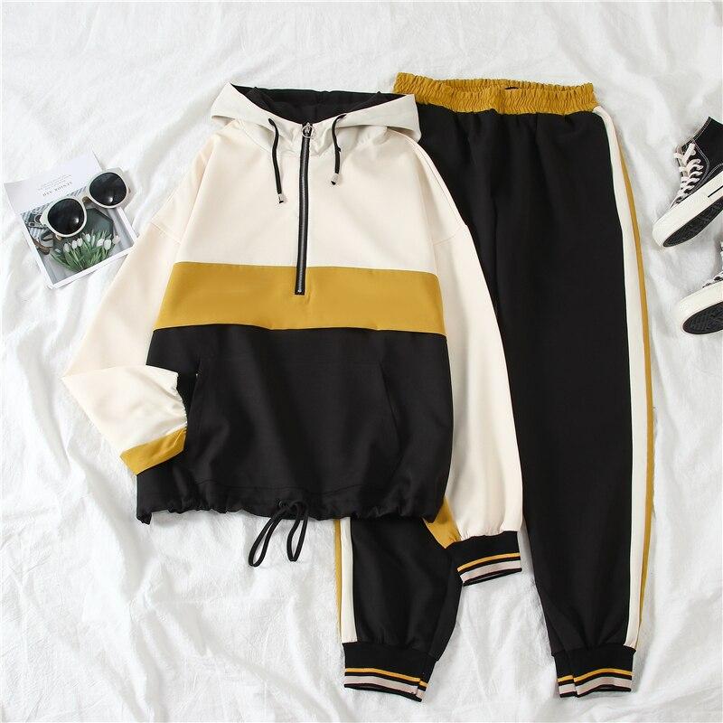 Mooirue Tracksuit Women Autumn 2019 Striped Vintage Streetwear Hooded Tops High Waist Harem Pants Harajuku Korean Style Sets